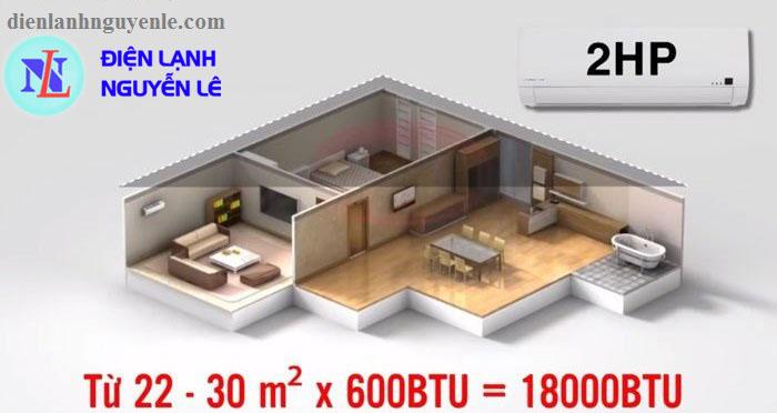 máy lạnh toshiba 2hp cho phòng dưới 30m2